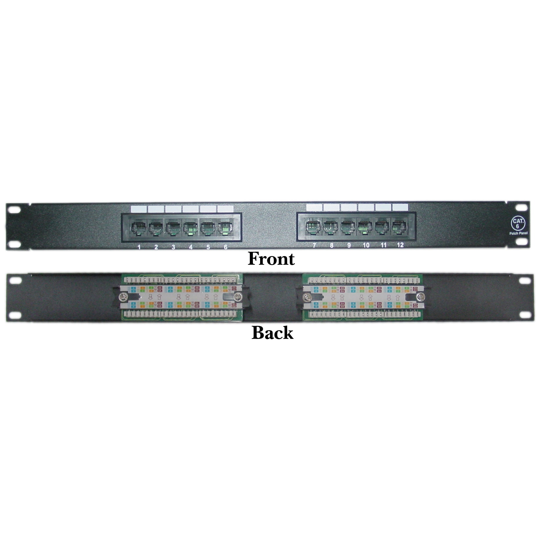 12 Port CAT6 Patch Panel 110 Block 568A & 568B Compatible