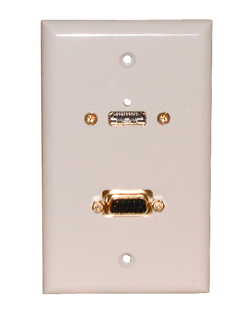 White Wall Plate with HDMI and VGA Jack Philmore 75-601