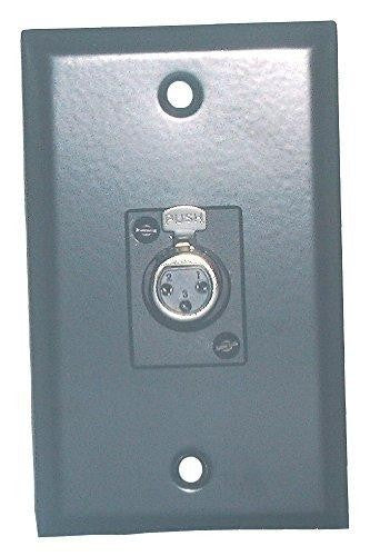 Black Stainless Steel Wall Plate With Single XLR 3-Pin Female Connector Philmore 75-784