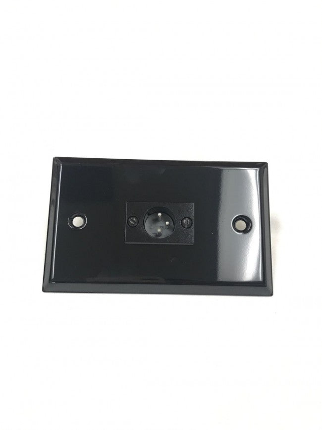 Black Stainless Steel Wall Plate with One 3 Pin Male XLR Single Gang