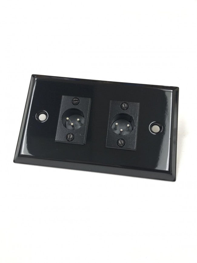 Black Stainless Steel Wall Plate with Two XLR 3 Pin Male Philmore 75-789