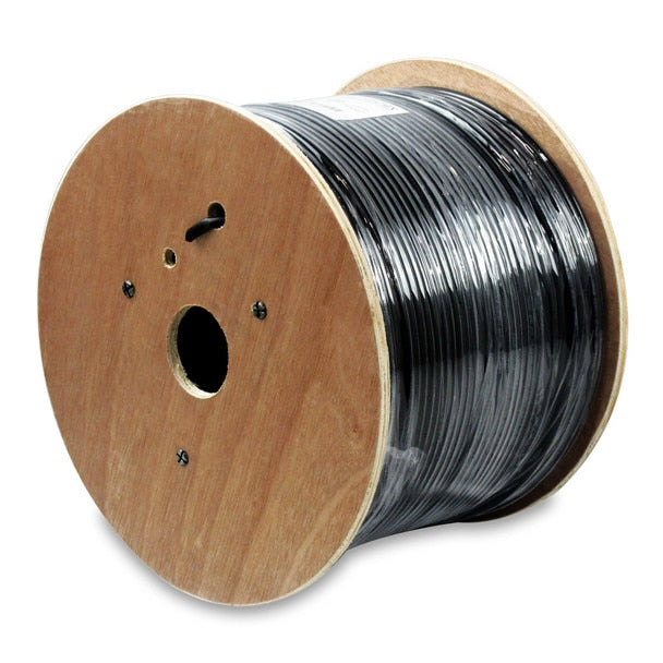 Cat6 Solid Direct Burial Outdoor Cable - Black - 1000 Foot Spool - Water Block