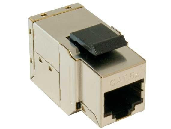 Cat6A 10G Shielded Snap-In Inline Coupler Keystone Jack