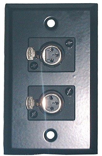 Black Stainless Steel Wall Plate with Dual XLR 3 Pin Female Philmore 75-787