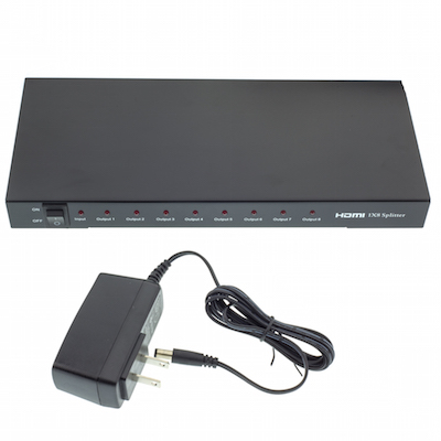 HDMI Splitter, 1 HDMI Female Input x 8 HDMI Female Output