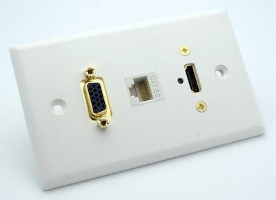 White Wall Plate with HDMI, VGA and Cat5e Jack Philmore 75-653