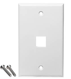 White Keystone Style Wall Plates - 1 Port, 2 Port, 3 Port, 4 Port and 6 Port