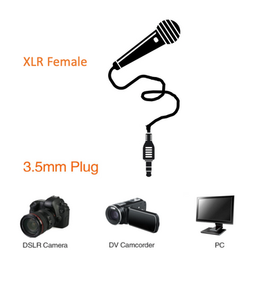Unbalanced XLR Female to 3.5mm TRS Audio Cables with Neutrik Connectors All Lengths Available
