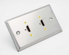 Stainless Steel Dual HDMI female feed thru Wall Plate