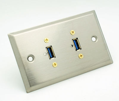 Stainless Steel Dual USB 3.0 Wall Plate Philmore 75-699