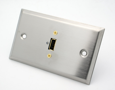 Stainless Steel Single USB 2.0 Wall Plate Philmore 75-697