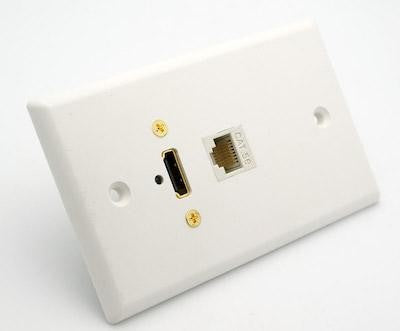 White Wall Plate with HDMI and Cat5e Jack Philmore 75-649