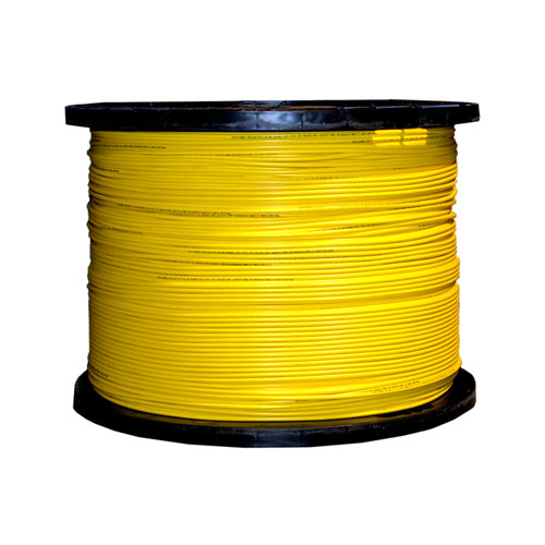12 Fiber Indoor Distribution Fiber Optic Cable, Singlemode, 9/125, Yellow, Riser Rated, Spool, 1000 foot