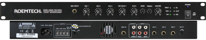 Commercial Audio Systems- SXR-12070V/100V Mixer/Amplifier