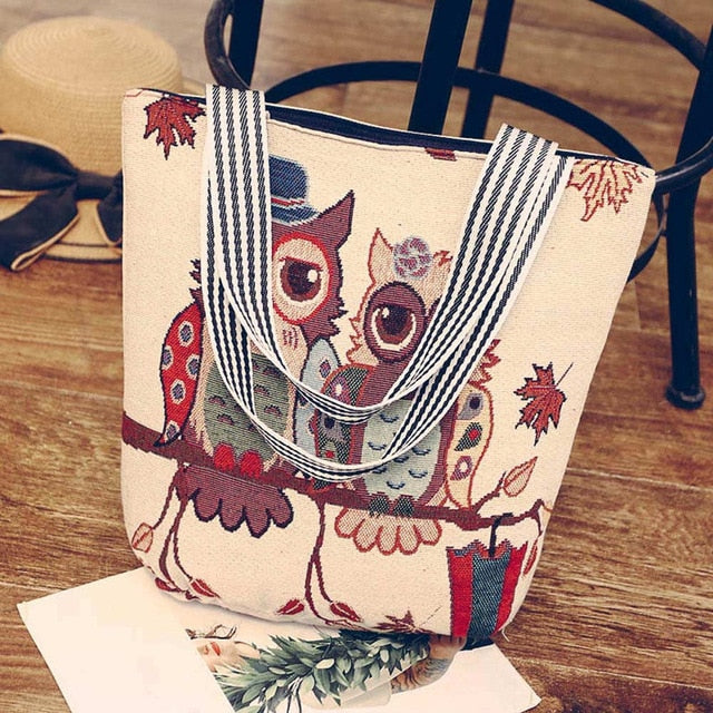 ce91031b3 Aelicy 2019 New Design Women's Canvas Cartoon Handbag Large Capacity Animal  Prints Casual Tote Owl Crossbody