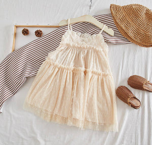 beige cecilia ruffle dress