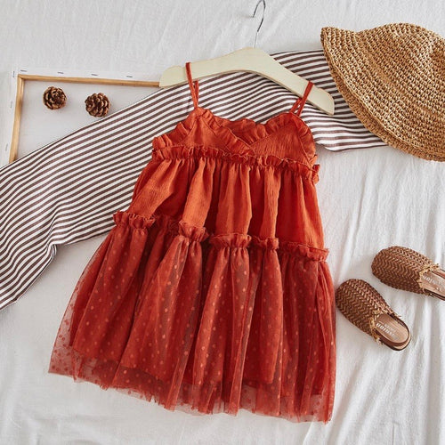 rust cecilia ruffle dress