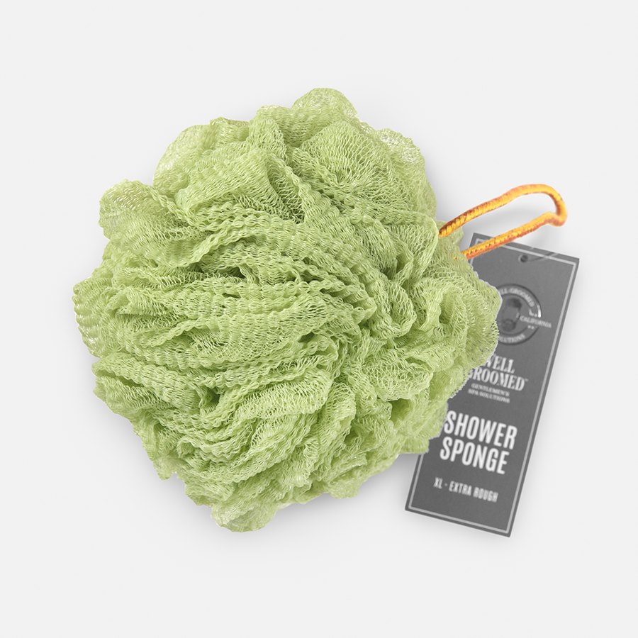 WELL GROOMED JUMBO EXTRA ROUGH SHOWER SPONGE - SAGE GREEN