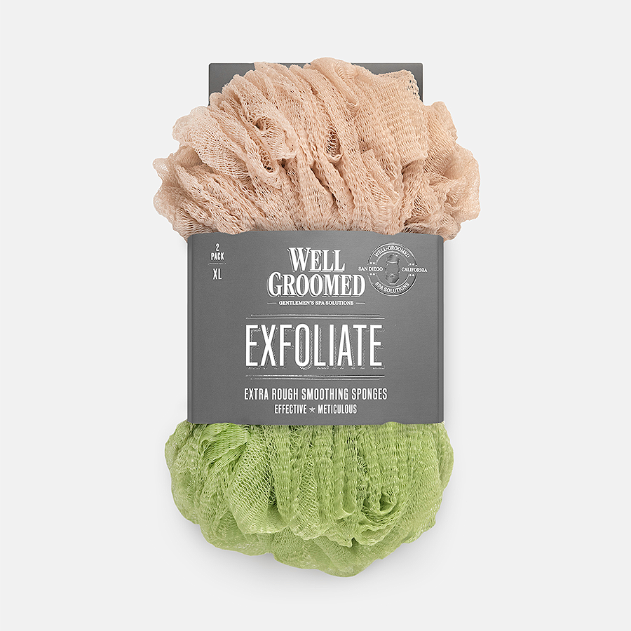 WELL GROOMED EXTRA ROUGH SMOOTHING SPONGES - KHAKI AND SAGE GREEN