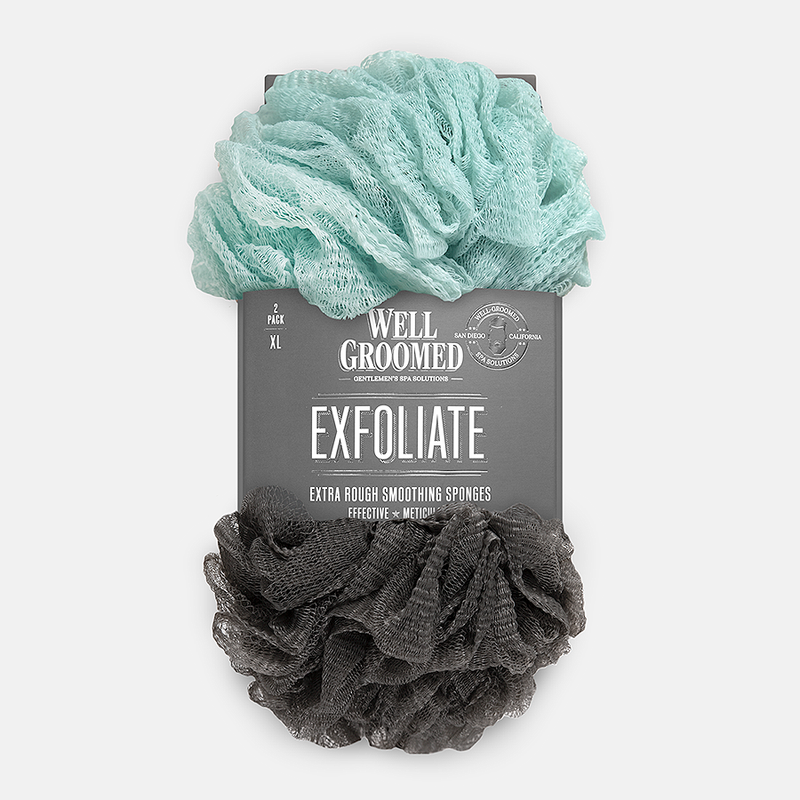 Well Groomed Extra Rough Smoothing Sponges - Charcoal and Marine Mist