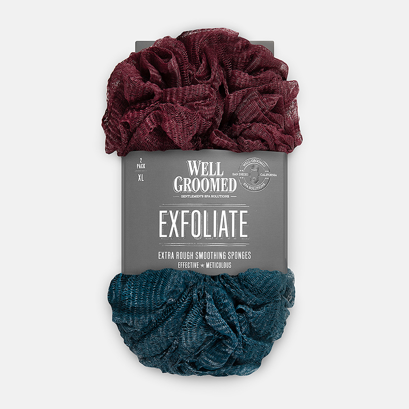 Well Groomed Extra Rough Smoothing Sponges - Maroon and Dark Teal