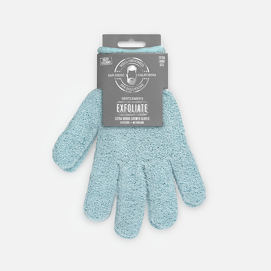 WELL GROOMED XL EXTRA ROUGH SHOWER GLOVES - SLATE BLUE