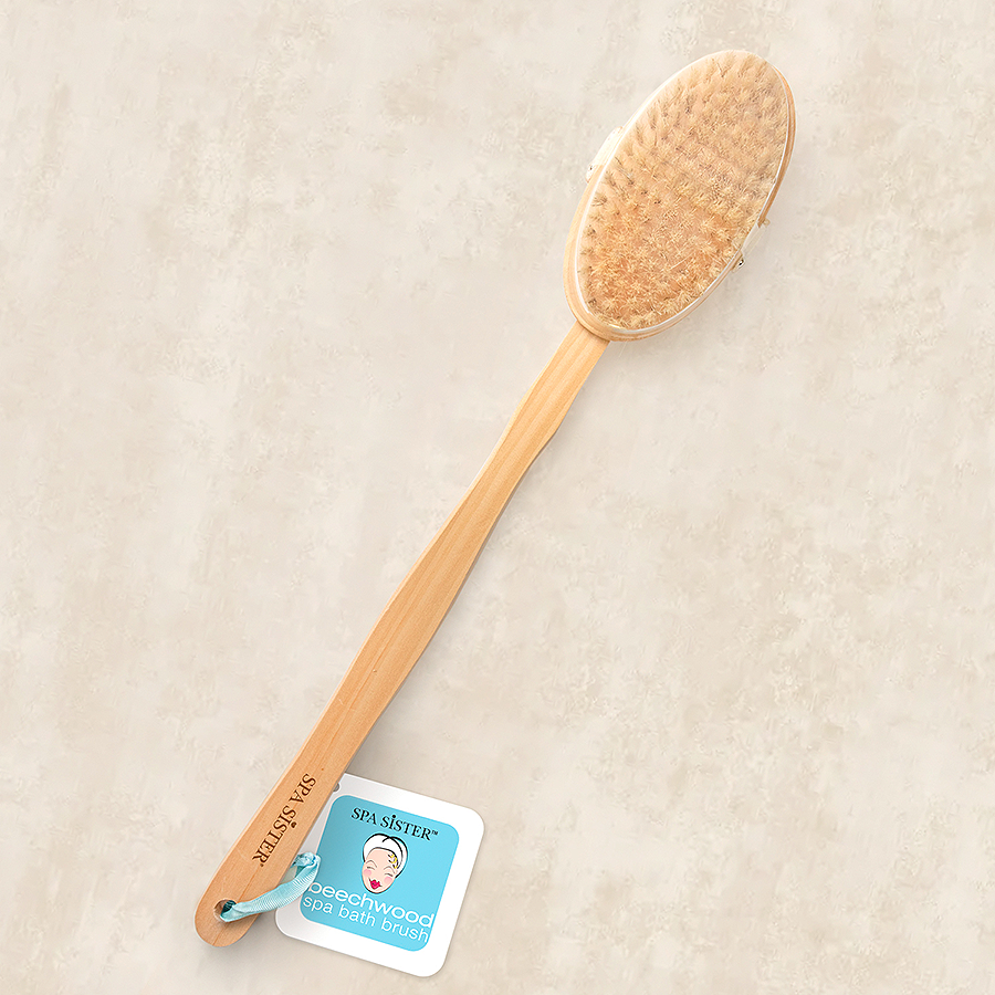LONG WOODEN BATH BRUSH - DETACHABLE