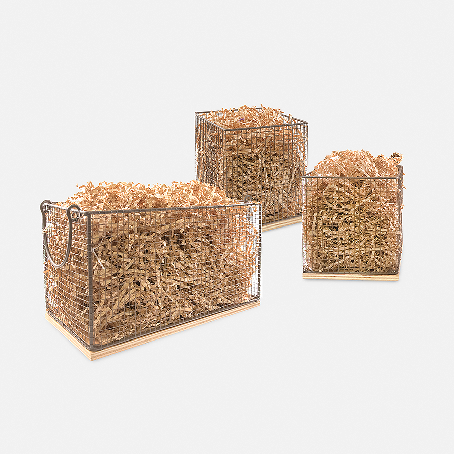 FARMHOUSE CHICKEN WIRE & WOOD BASKET - SET OF 3<br>(FILLER NOT INCLUDED)