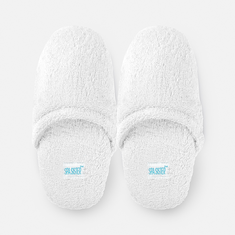 Luxury Terry Spa Slippers - White