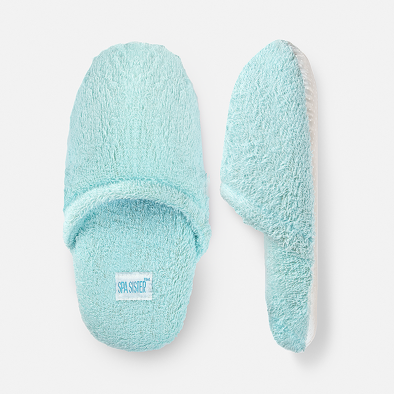 Luxury Terry Spa Slippers - Turquoise