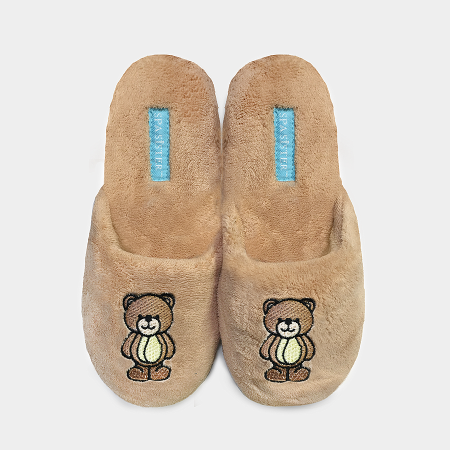 Chenille Embroidered Slippers - Bear