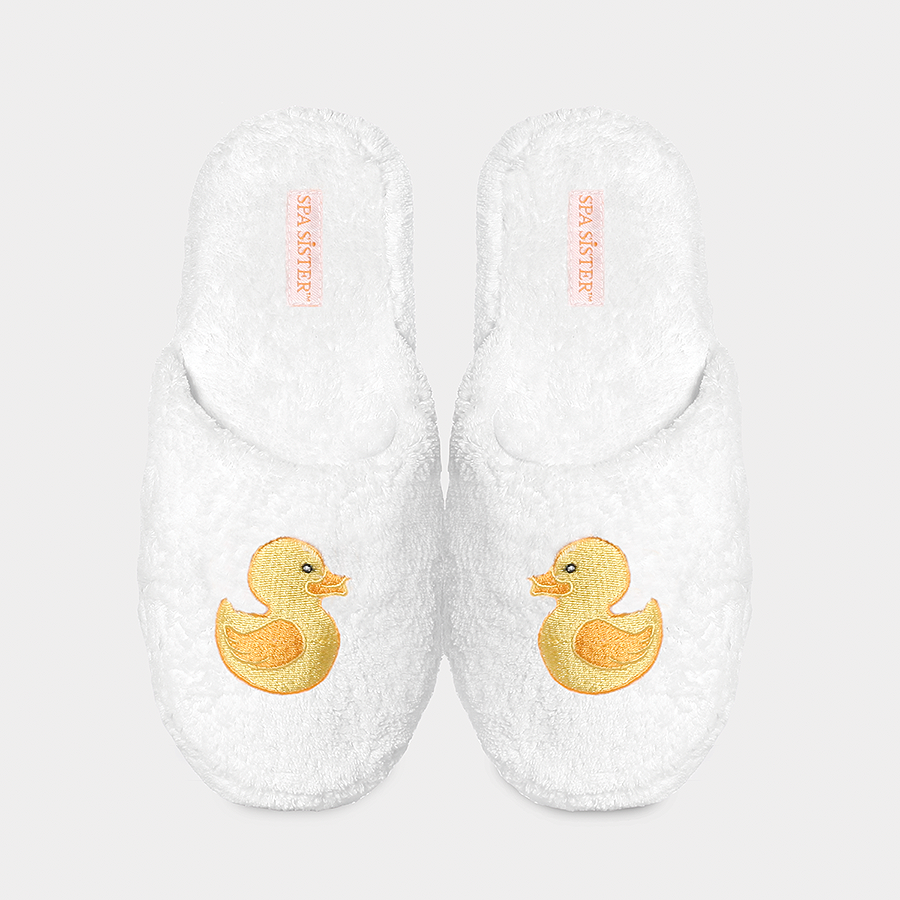 Chenille Embroidered Slippers - Duck