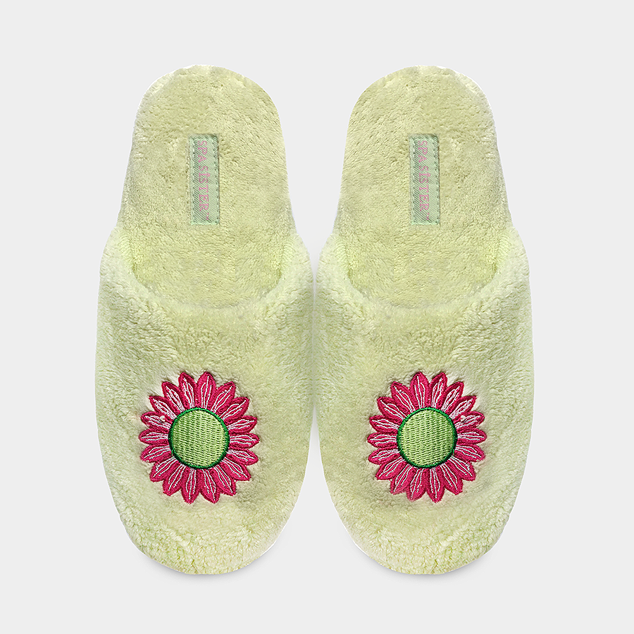 Chenille Embroidered Slippers - Daisy