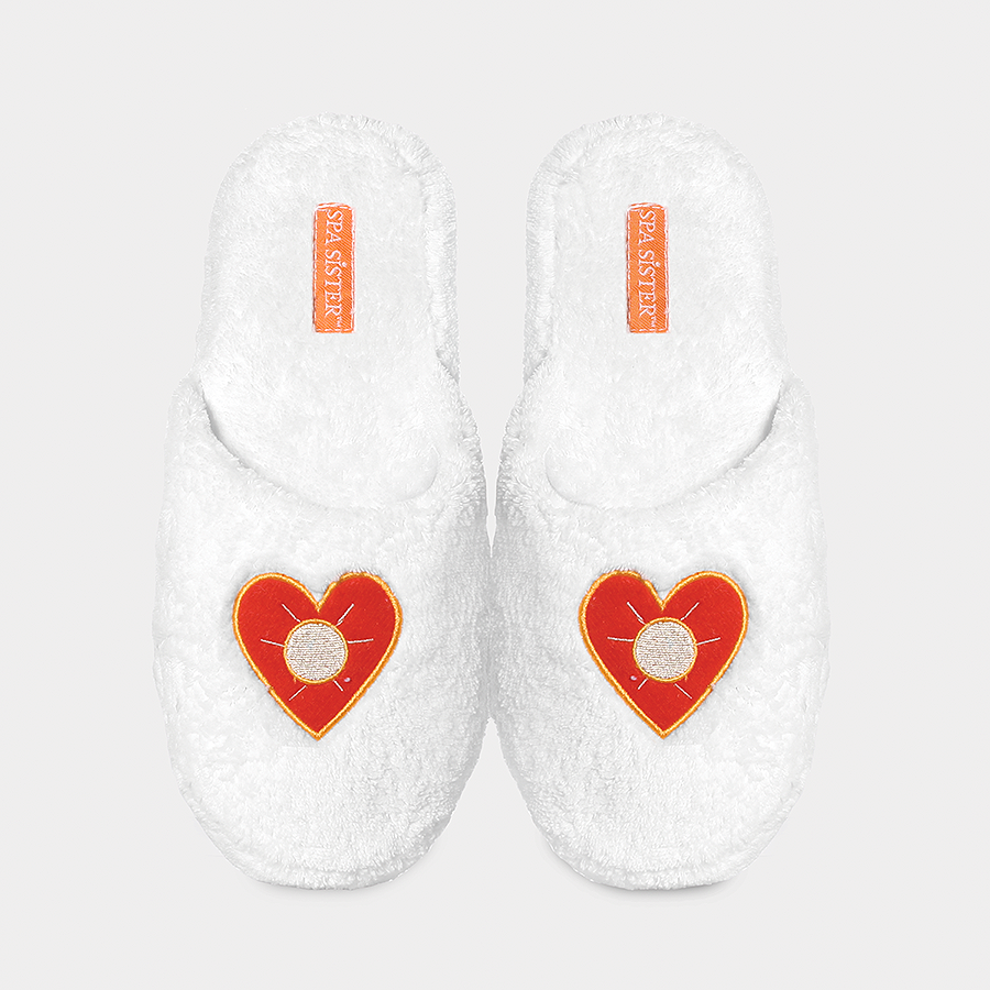 Chenille Embroidered Slippers - Heart