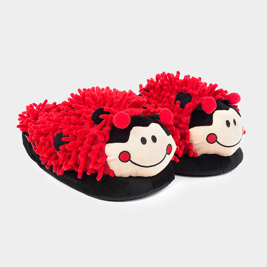 JUST FOR FUN PLUSH SLIPPERS - LADYBUG