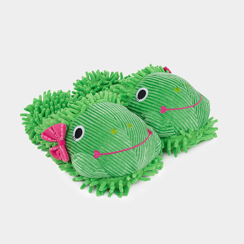 Just for Fun Plush Slippers - Frog