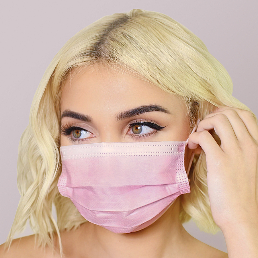 Pink Face Masks 50pk <br> 3ply Disposable, Non-Medical