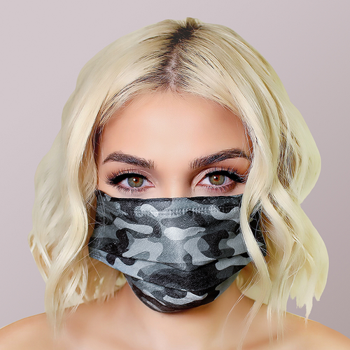 Black Camo Face Masks 5pk <br> 3ply Disposable, Non-Medical