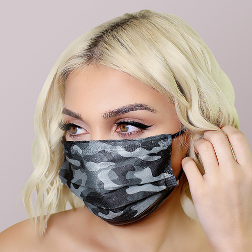 Black Camo Face Masks 20pk <br> 3ply Disposable, Non-Medical