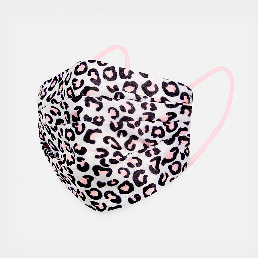 Pink Leopard Face Masks 5pk <br> 3ply Disposable, Non-Medical