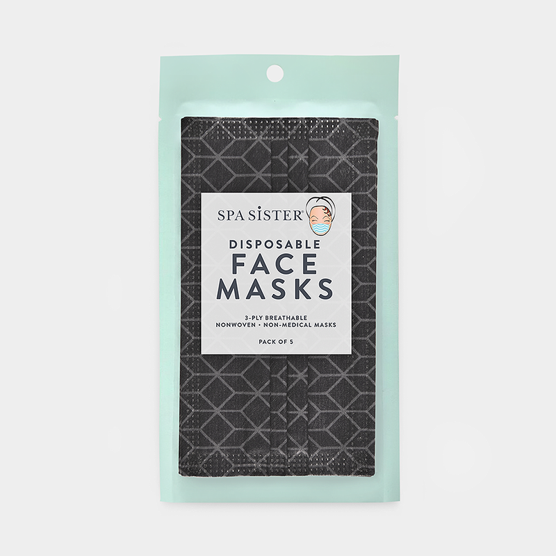 Geometric Face Masks 5pk <br> 3ply Disposable, Non-Medical