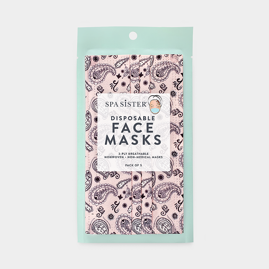 Paisley Face Masks 5pk <br> 3ply Disposable, Non-Medical