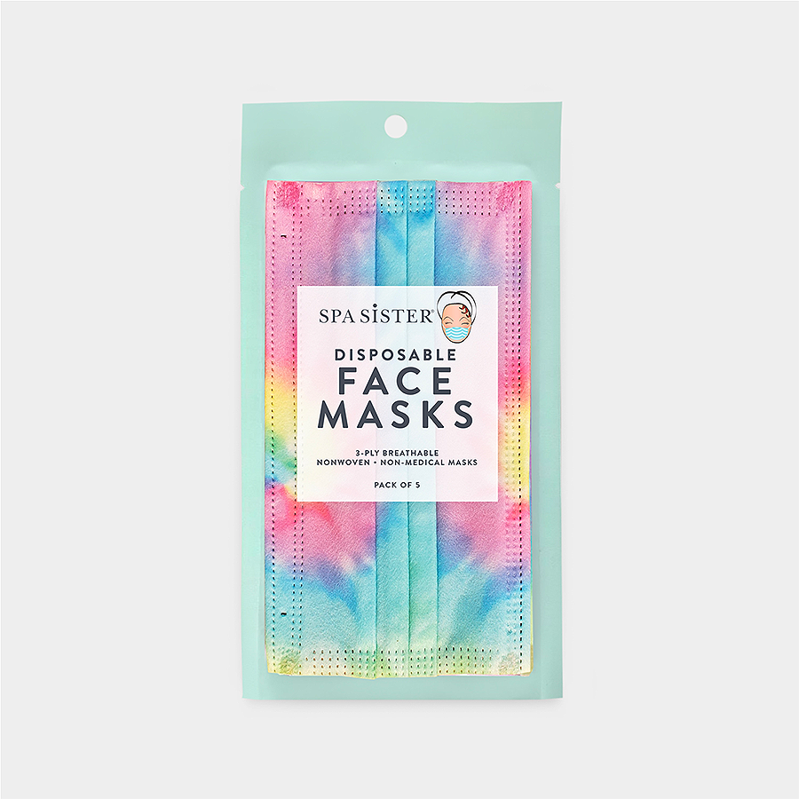 Tie Dye Face Masks 5pk <br> 3ply Disposable, Non-Medical