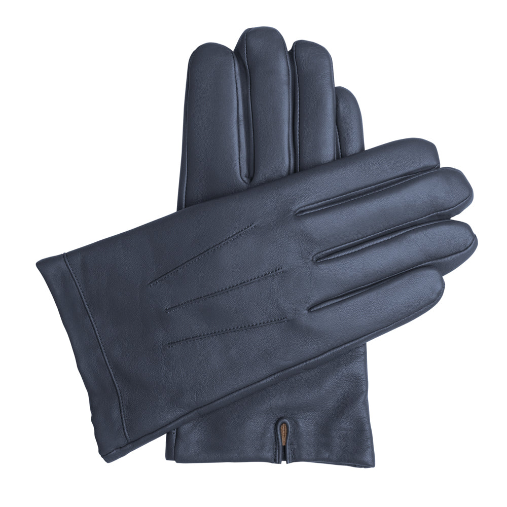 Men's Classic Leather Cashmere Lined Gloves - Dark Blue, DH-LCM-NVYXXL, DH-LCM-NVYXL, DH-LCM-NVYL, DH-LCM-NVYM, DH-LCM-NVYS, DH-LCM-NVYXS
