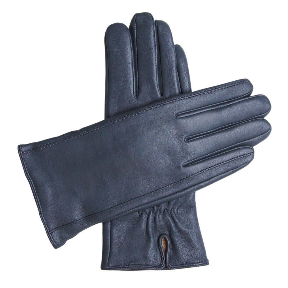 Women's Classic Leather Cashmere Lined Gloves - Dark Blue, DH-LCW-NVYXL, DH-LCW-NVYL, DH-LCW-NVYM, DH-LCW-NVYS, DH-LCW-NVYXS