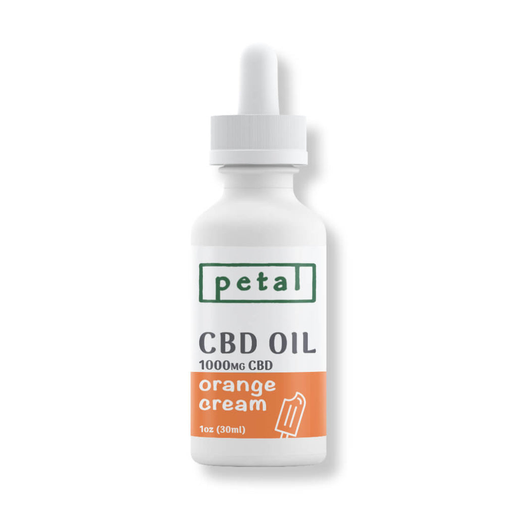 Orange Cream flavored Pure CBD Oil Tincture - 1000mg - Petal CBD