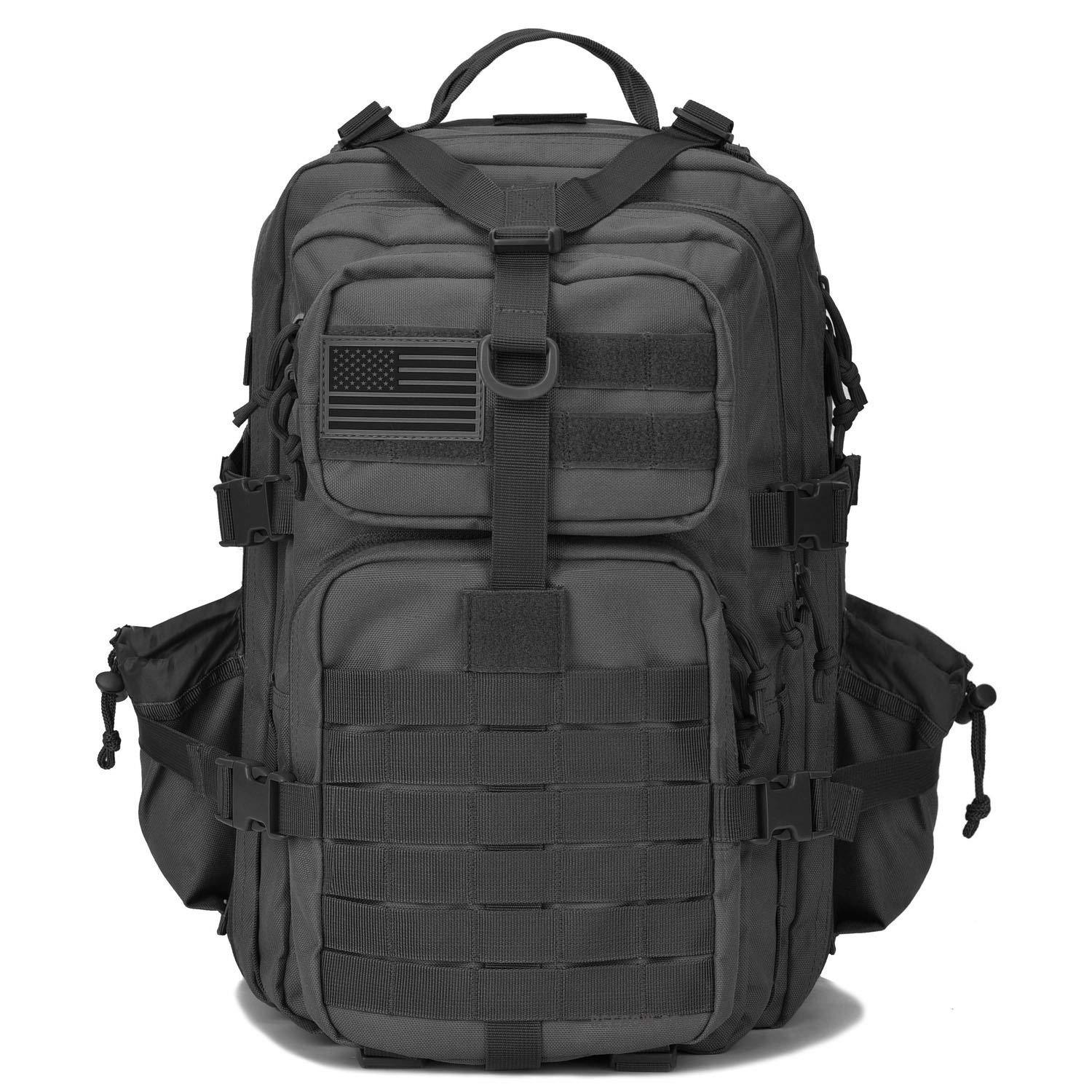 BOW-TAC tactical backpacks - Black 34L molle bug out backpack - Front view