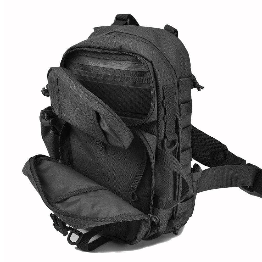 BOW-TAC tactical bags - Black military sling bag pack - Open view