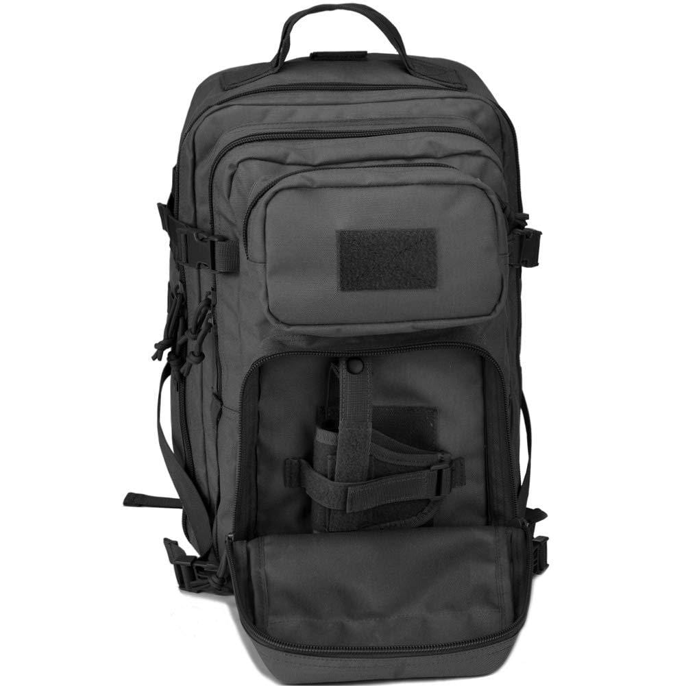 BOW-TAC tactical backpacks - Black 34L tactical backpack with gun holster - Front pocket open