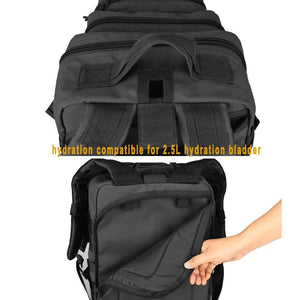 BOW-TAC tactical backpacks - Black 34L tactical backpack with gun holster - Has 2.5L hydration compatible
